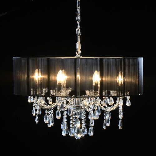 Antique French Cut Glass Chrome Chandelier with Black Shade 8 arm